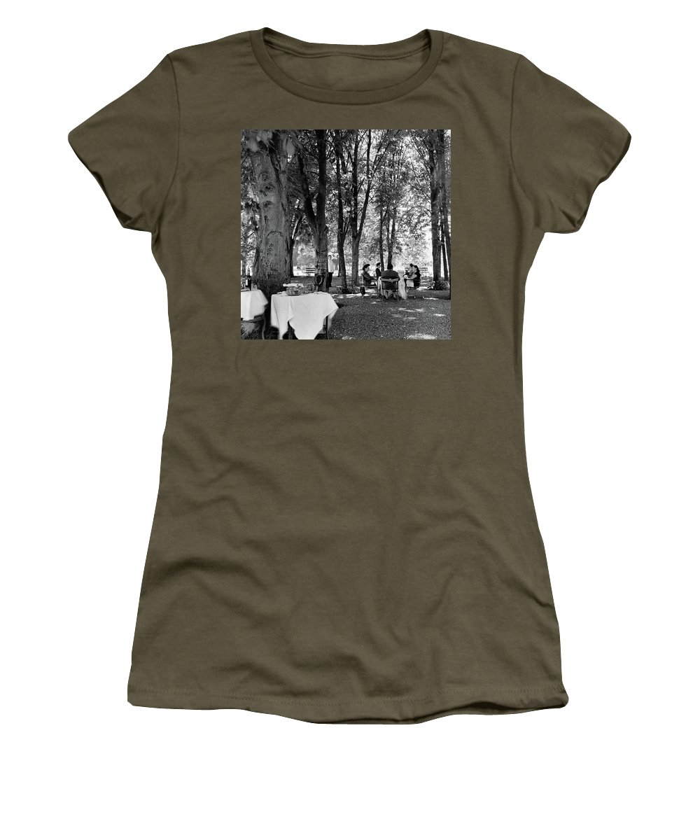 Food Women's T-Shirt featuring the photograph A Group Of People Eating Lunch Under Trees by Luis Lemus