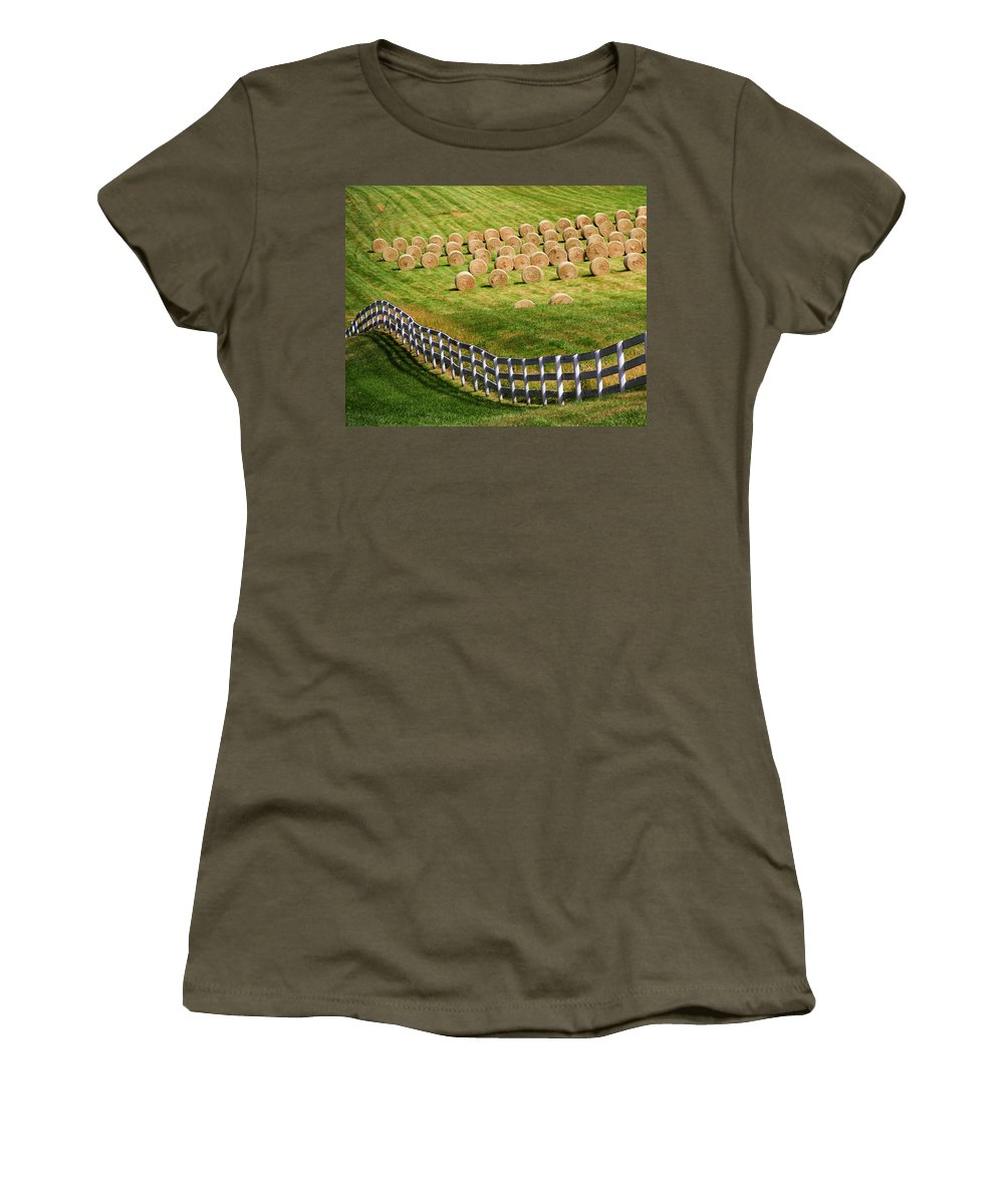 Landscape Women's T-Shirt (Athletic Fit) featuring the photograph A Herd Of Hay Bales by Guy Shultz