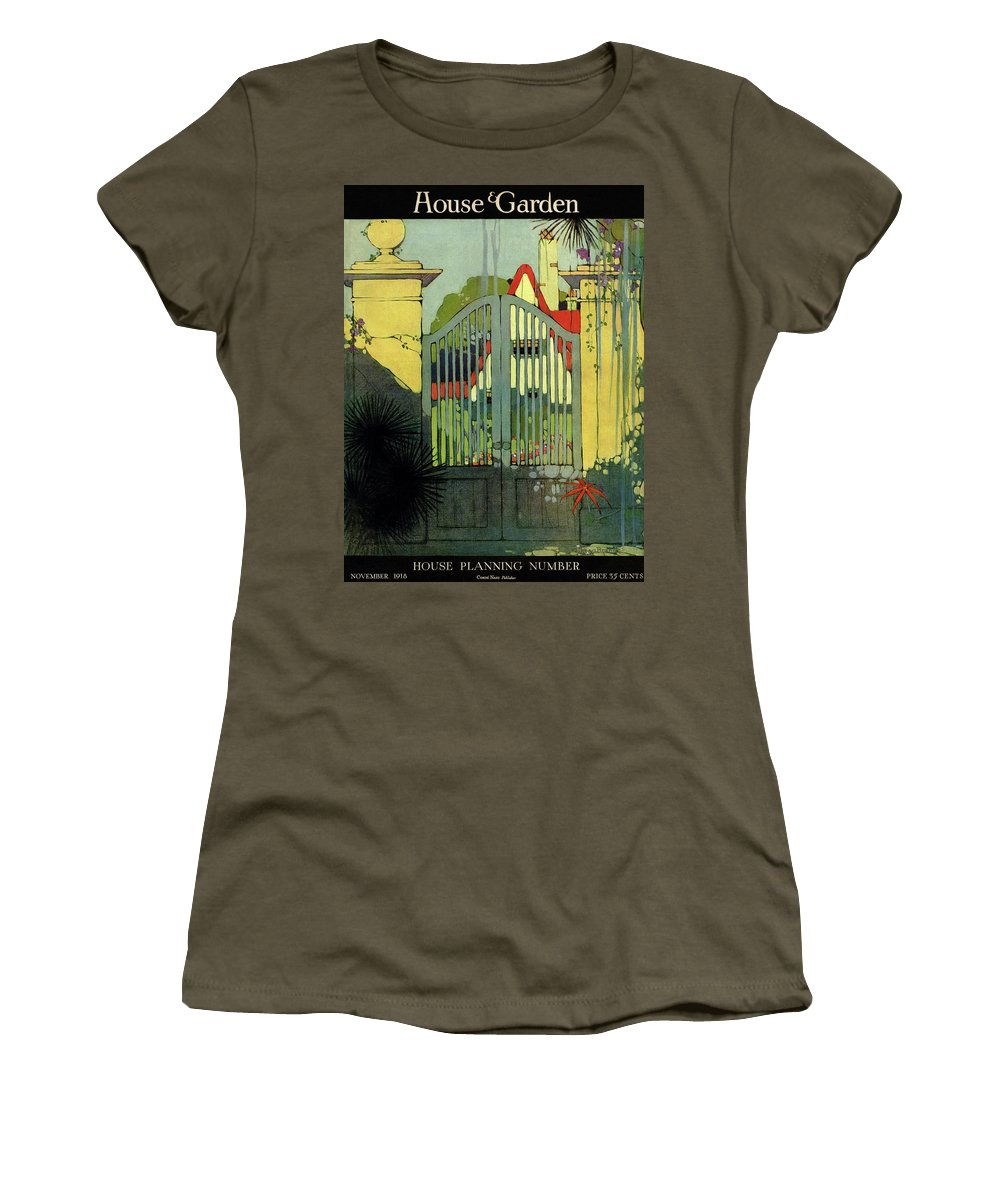 Illustration Women's T-Shirt featuring the photograph A House And Garden Cover Of A Gate by H. George Brandt