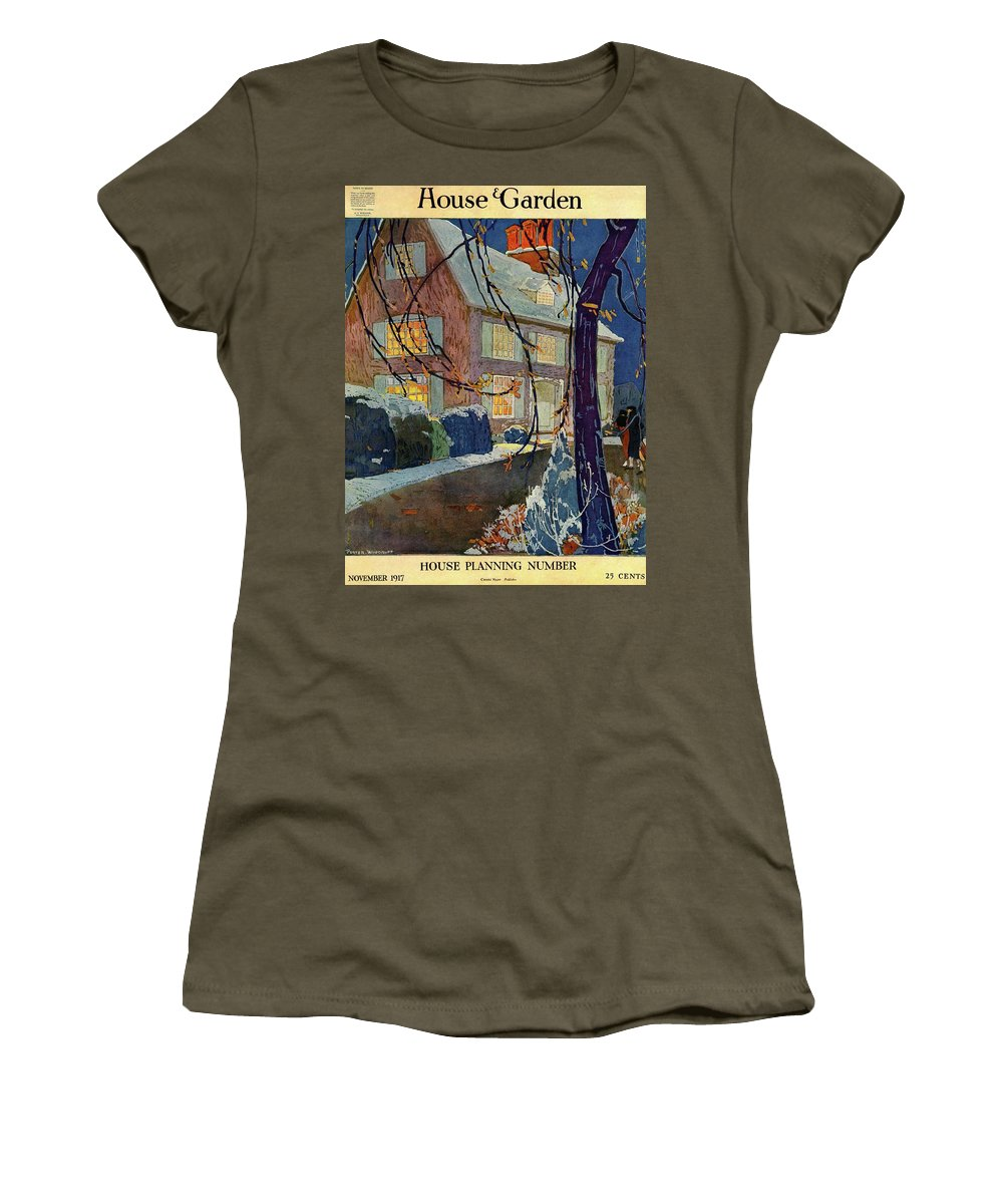 Illustration Women's T-Shirt featuring the photograph A House And Garden Cover Of A House In Winter by Porter Woodruff