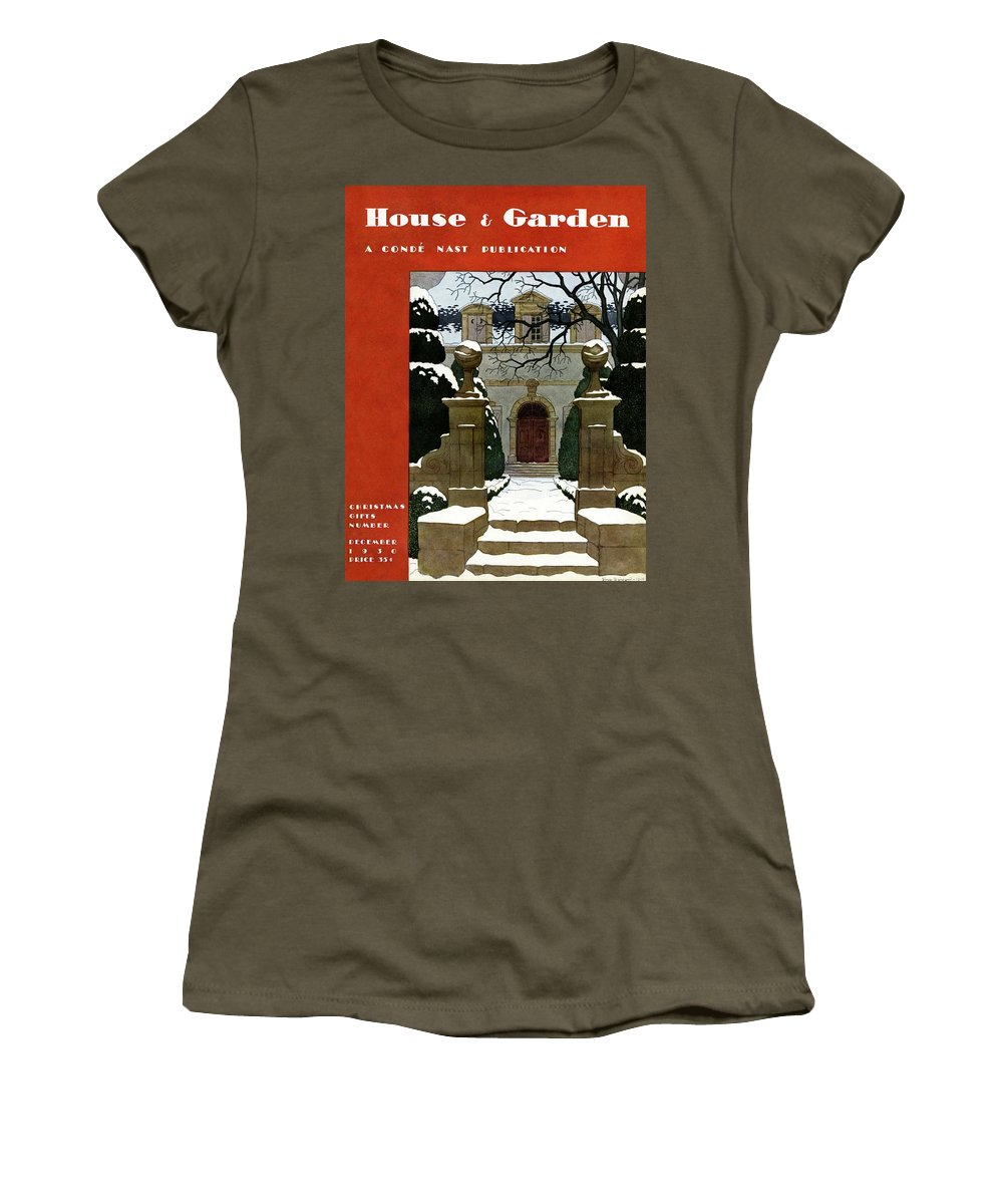 Exterior Women's T-Shirt featuring the photograph A House And Garden Cover Of A Mansion by Pierre Brissaud