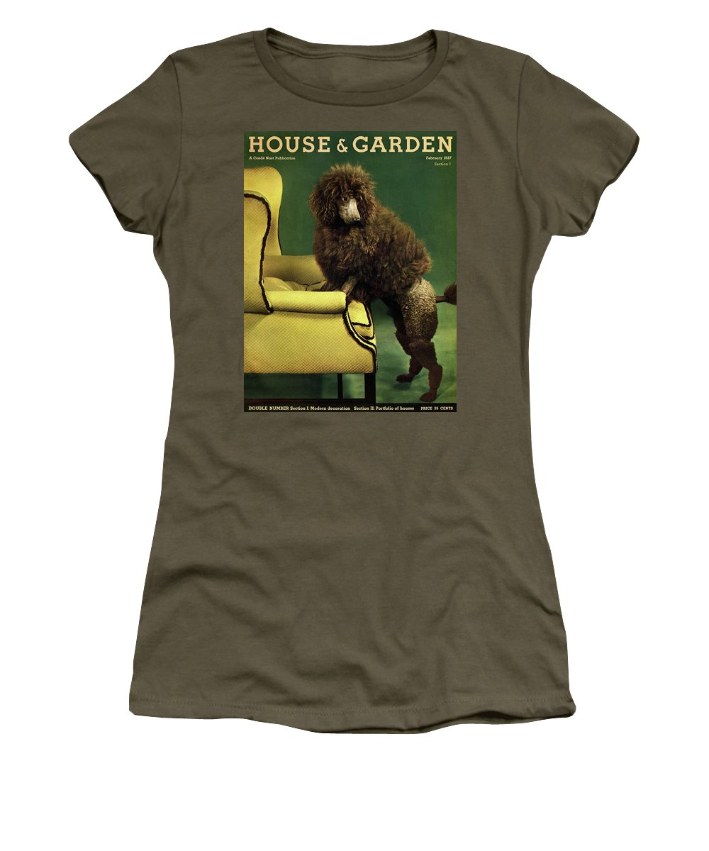 Illustration Women's T-Shirt featuring the photograph A House And Garden Cover Of A Poodle by Anton Bruehl