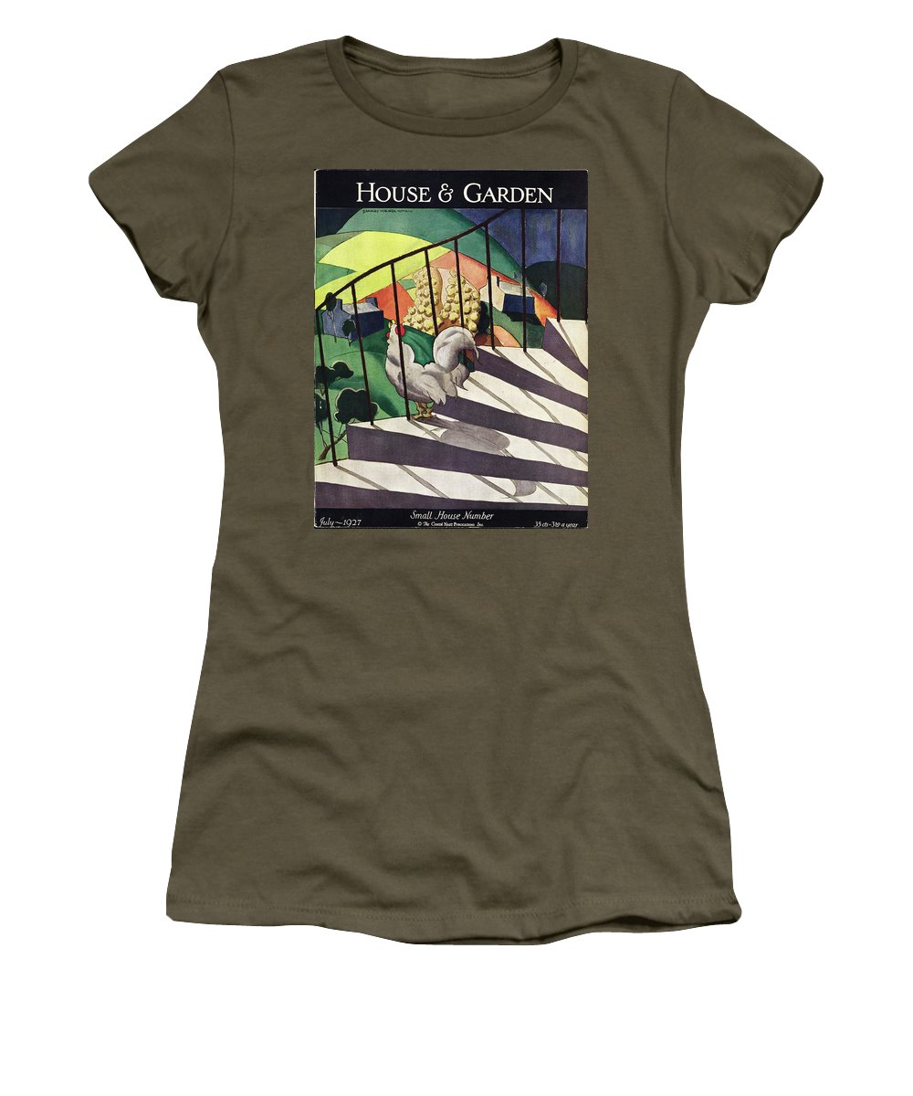 Illustration Women's T-Shirt featuring the photograph A House And Garden Cover Of A Rooster by Bradley Walker Tomlin