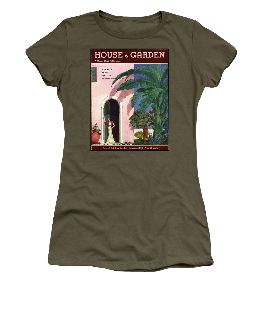 Illustration Women's T-Shirt featuring the photograph A House And Garden Cover Of A Woman In A Doorway by Georges Lepape