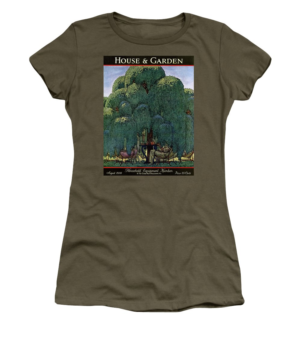 Illustration Women's T-Shirt featuring the photograph A House And Garden Cover Of People Dining by Pierre Brissaud