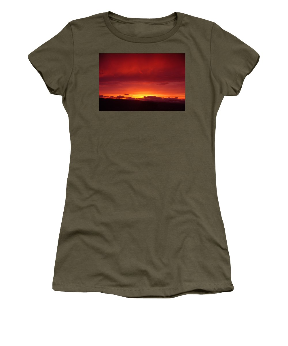 Sunset Women's T-Shirt (Athletic Fit) featuring the photograph A Light In The Clouds by Jeff Swan
