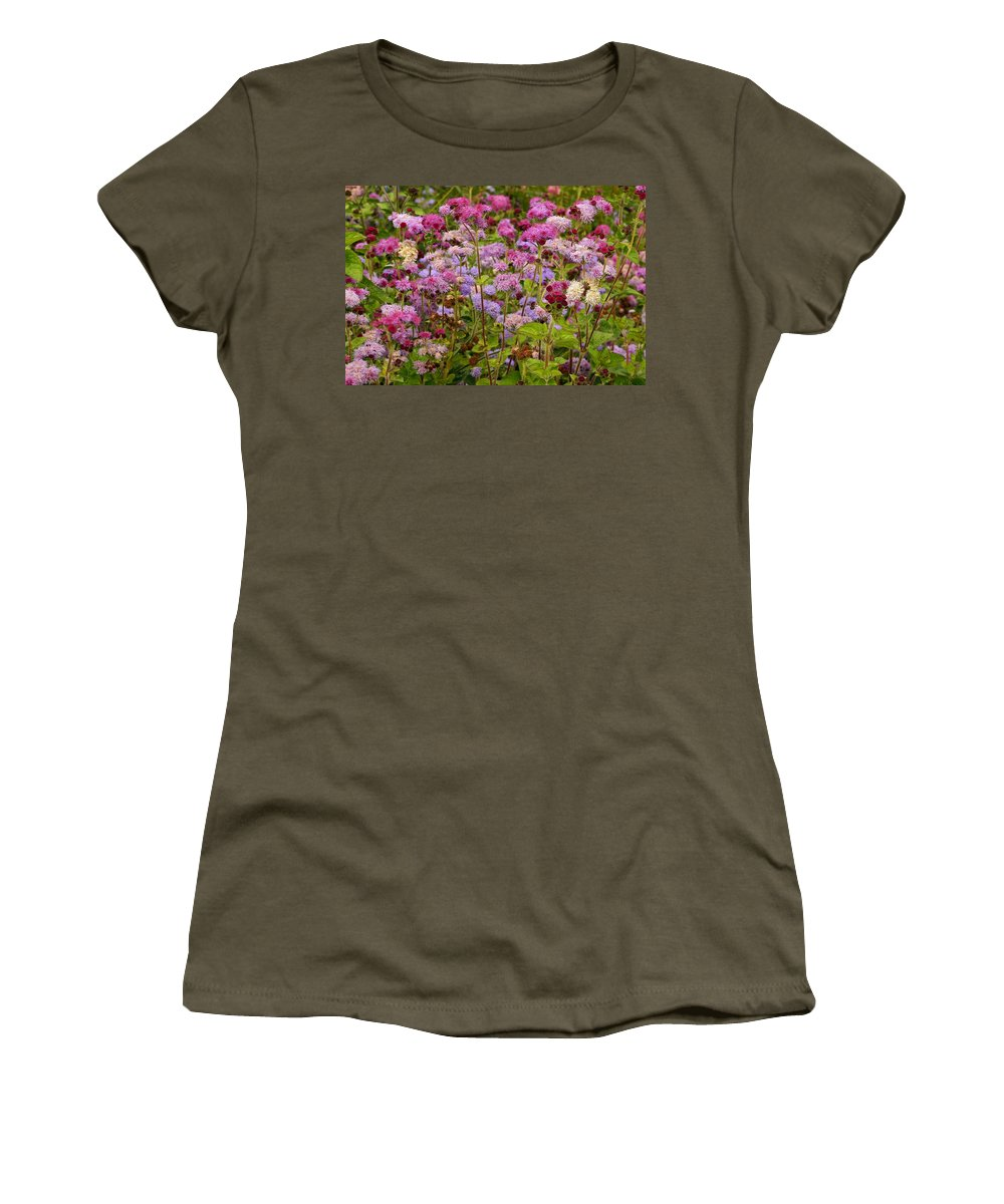 Colorful Small Flower Group Women's T-Shirt featuring the photograph A Lovely Fall Palette by Byron Varvarigos