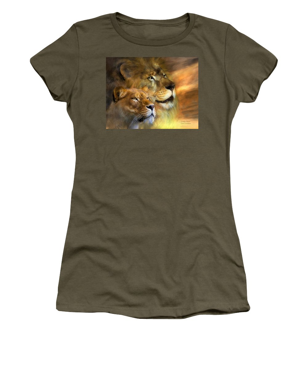 Lion Women's T-Shirt featuring the mixed media A New Dawn by Carol Cavalaris
