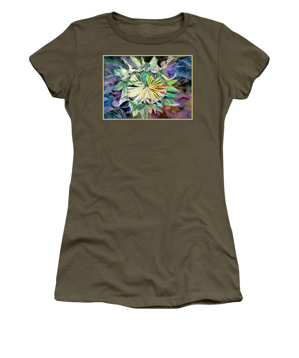 Sunflower Women's T-Shirt featuring the painting A New Sun Flower by Mindy Newman