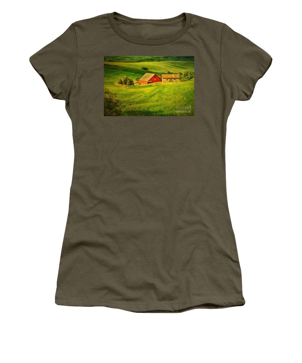 A Palouse Farm Women's T-Shirt featuring the photograph A Palouse Farm by Priscilla Burgers