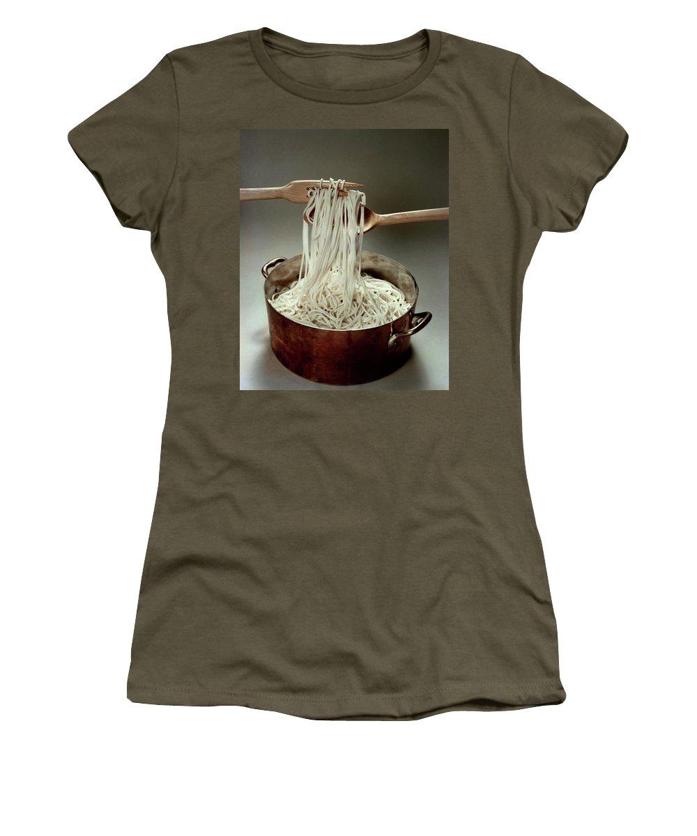 Food Women's T-Shirt featuring the photograph A Pot Of Spaghetti by John Stewart