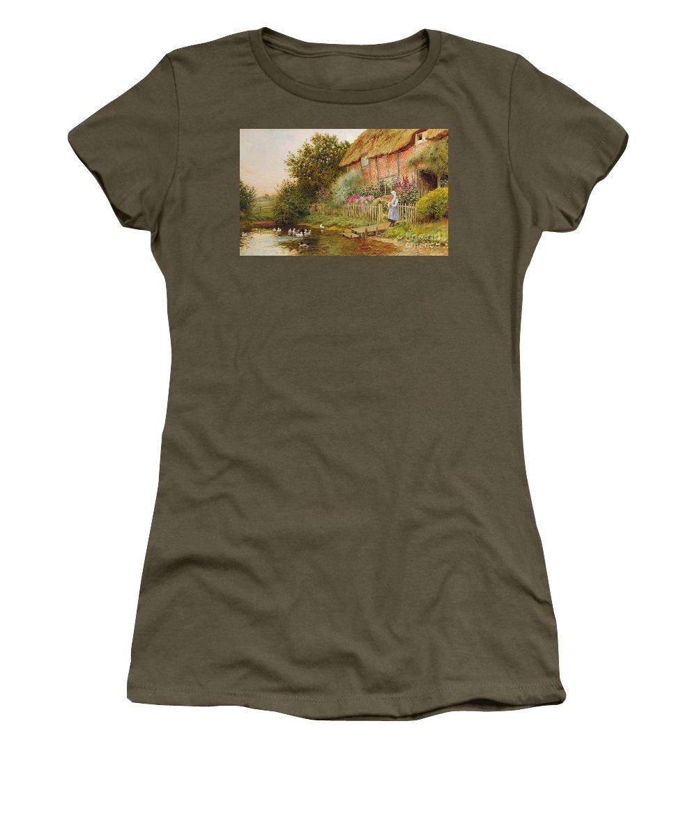 Arthur Claude Strachan Women's T-Shirt featuring the painting A Rustic Retreat by Arthur Claude Strachan