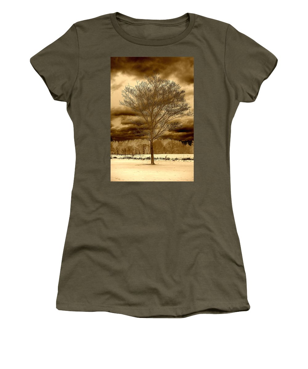 Tree Women's T-Shirt (Athletic Fit) featuring the photograph A Tree At Appleton by David Stone