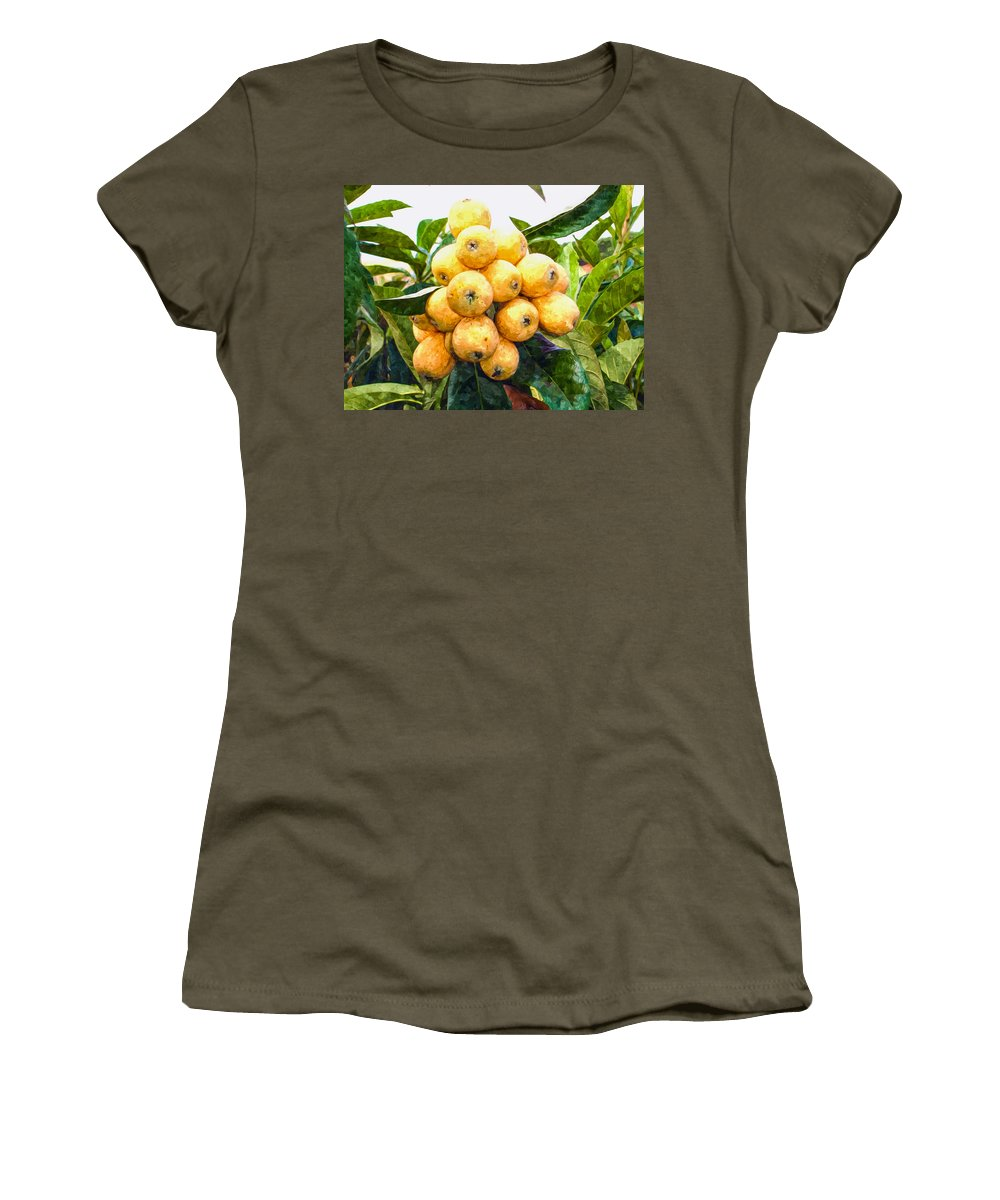 Loquat Women's T-Shirt featuring the painting A Tree Full Of Ripe Loquats by Jeelan Clark