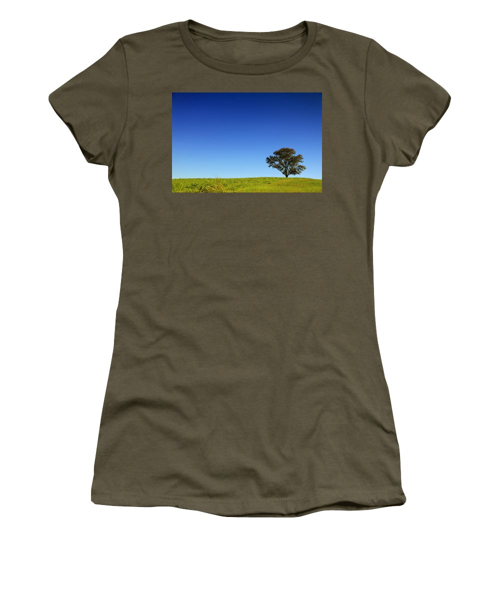 Landscape Women's T-Shirt featuring the photograph A Tree Stands Alone by Karol Livote