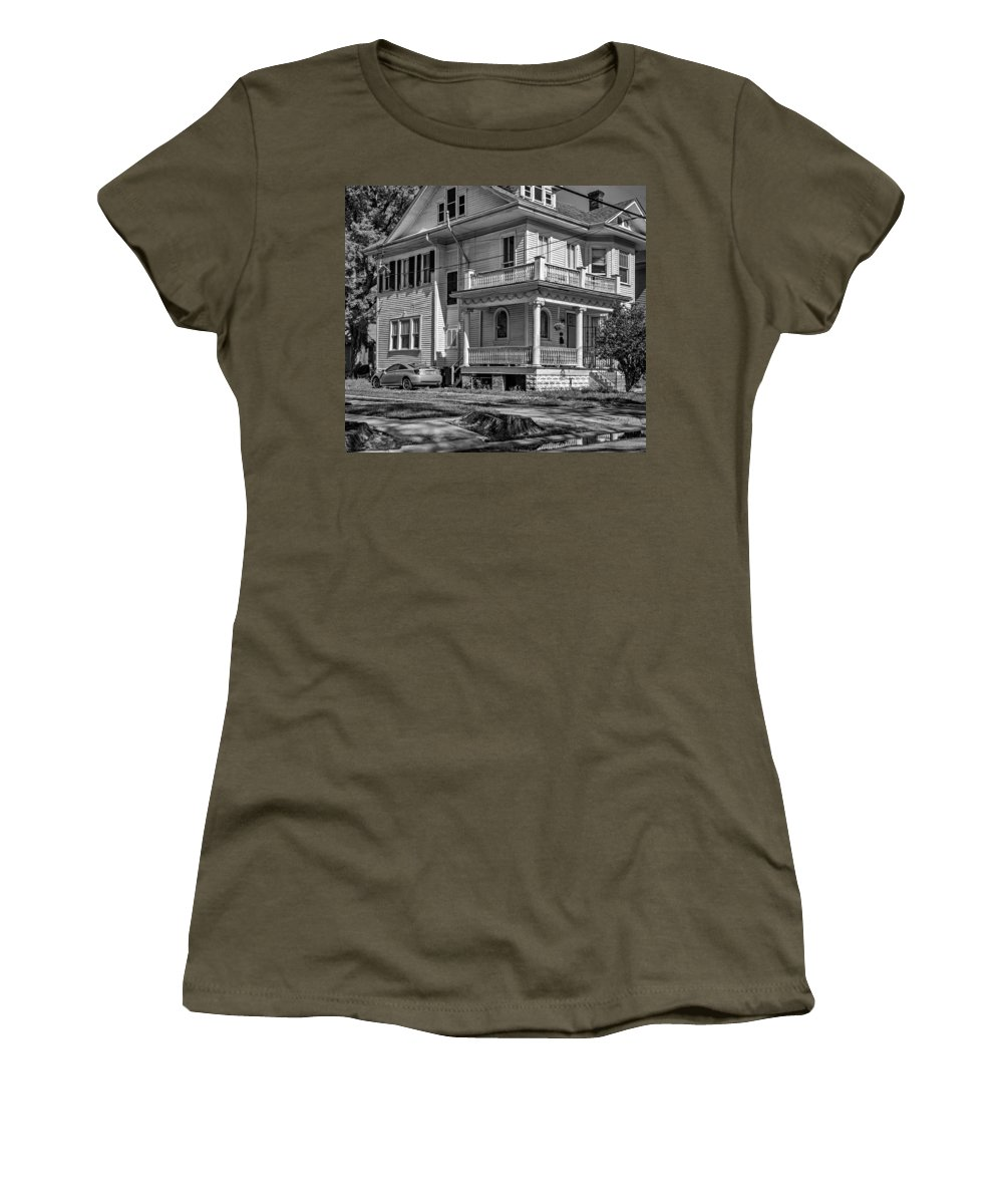 Home Women's T-Shirt featuring the photograph A Work In Progress Bw by Steve Harrington