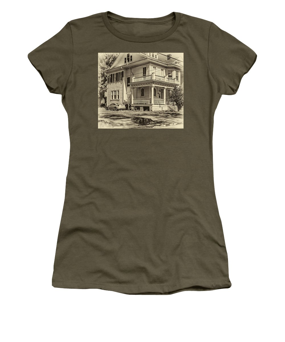 Home Women's T-Shirt featuring the photograph A Work In Progress Sepia by Steve Harrington