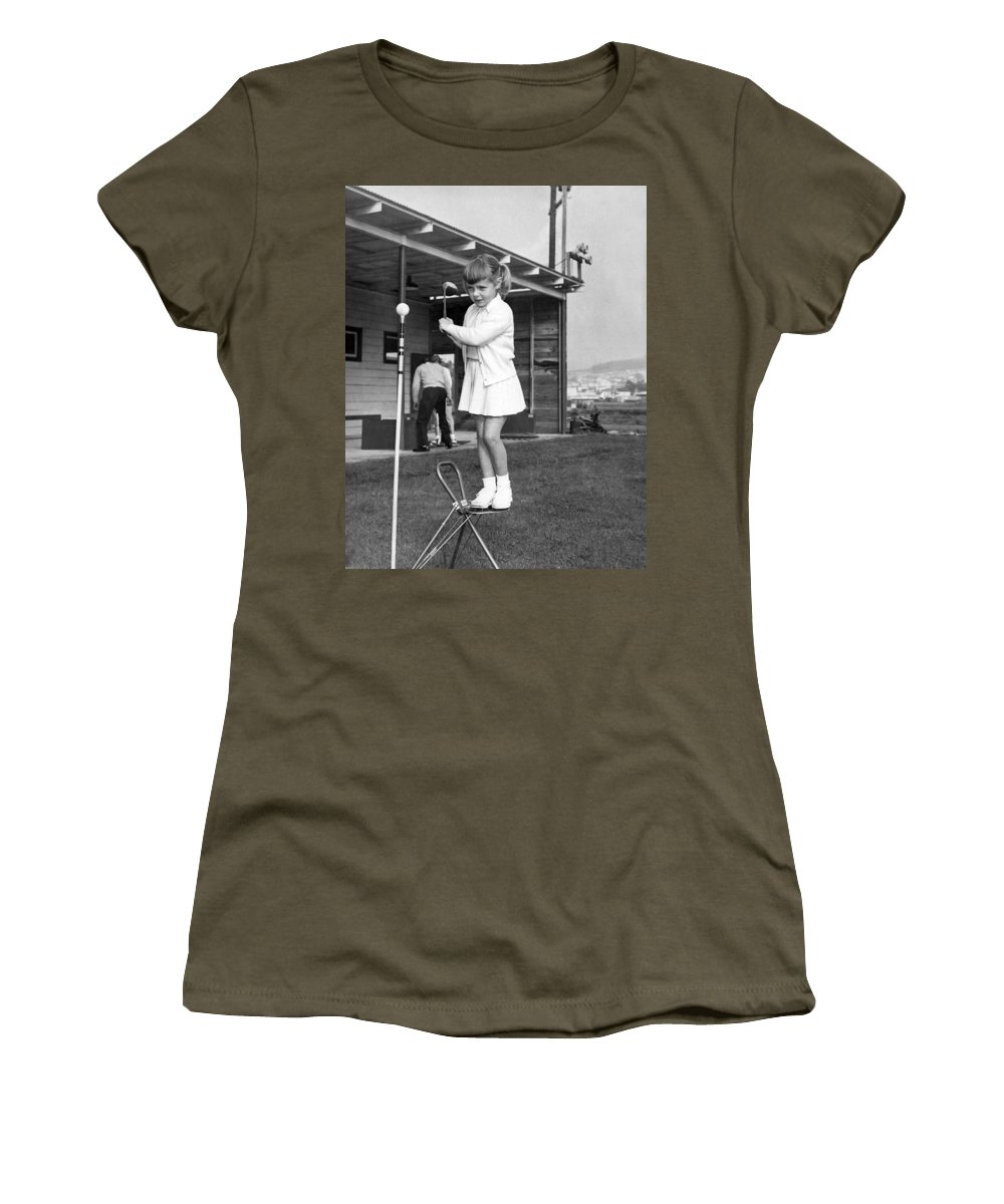 1940s Women's T-Shirt featuring the photograph A Young Girl Hits A Golf Ball by Underwood Archives