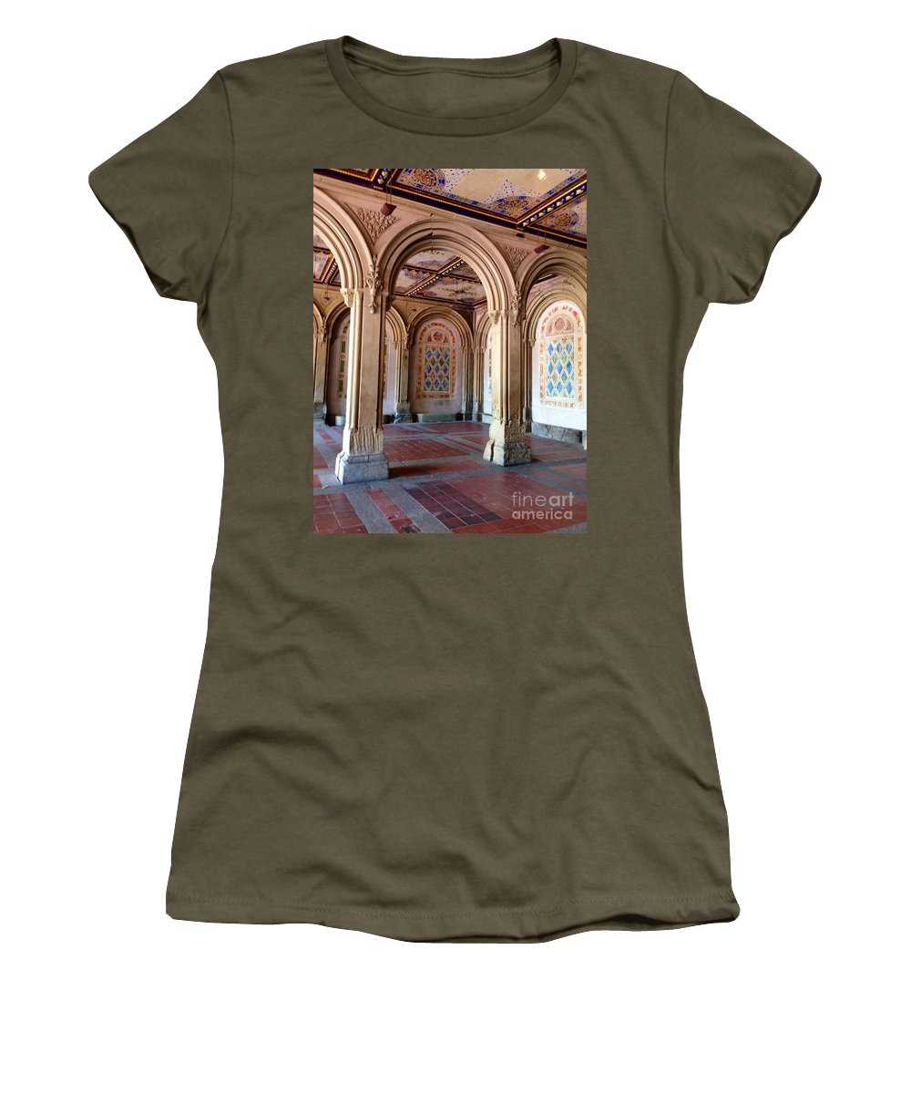 Arches Women's T-Shirt featuring the photograph Architecture In Central Park by Christy Gendalia
