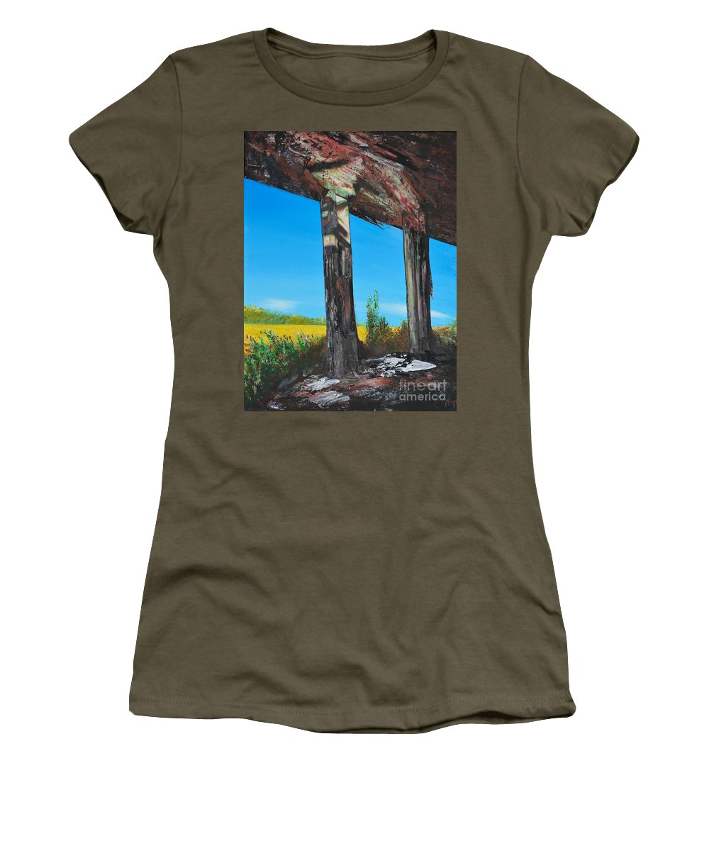 Abandoned Women's T-Shirt featuring the painting Abandoned by Alys Caviness-Gober