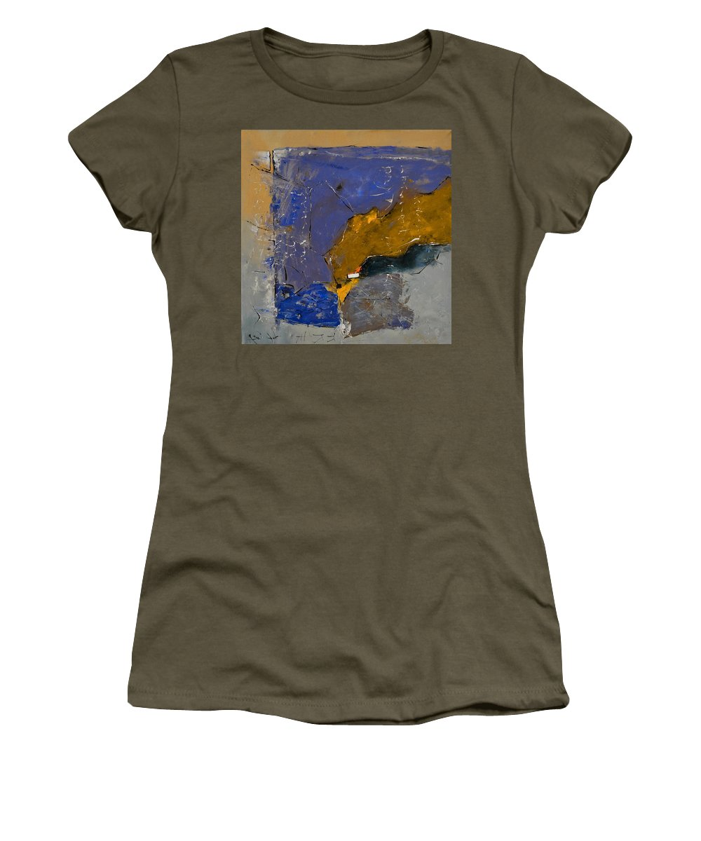 Abstract Women's T-Shirt (Athletic Fit) featuring the painting Abstract 88113003 by Pol Ledent