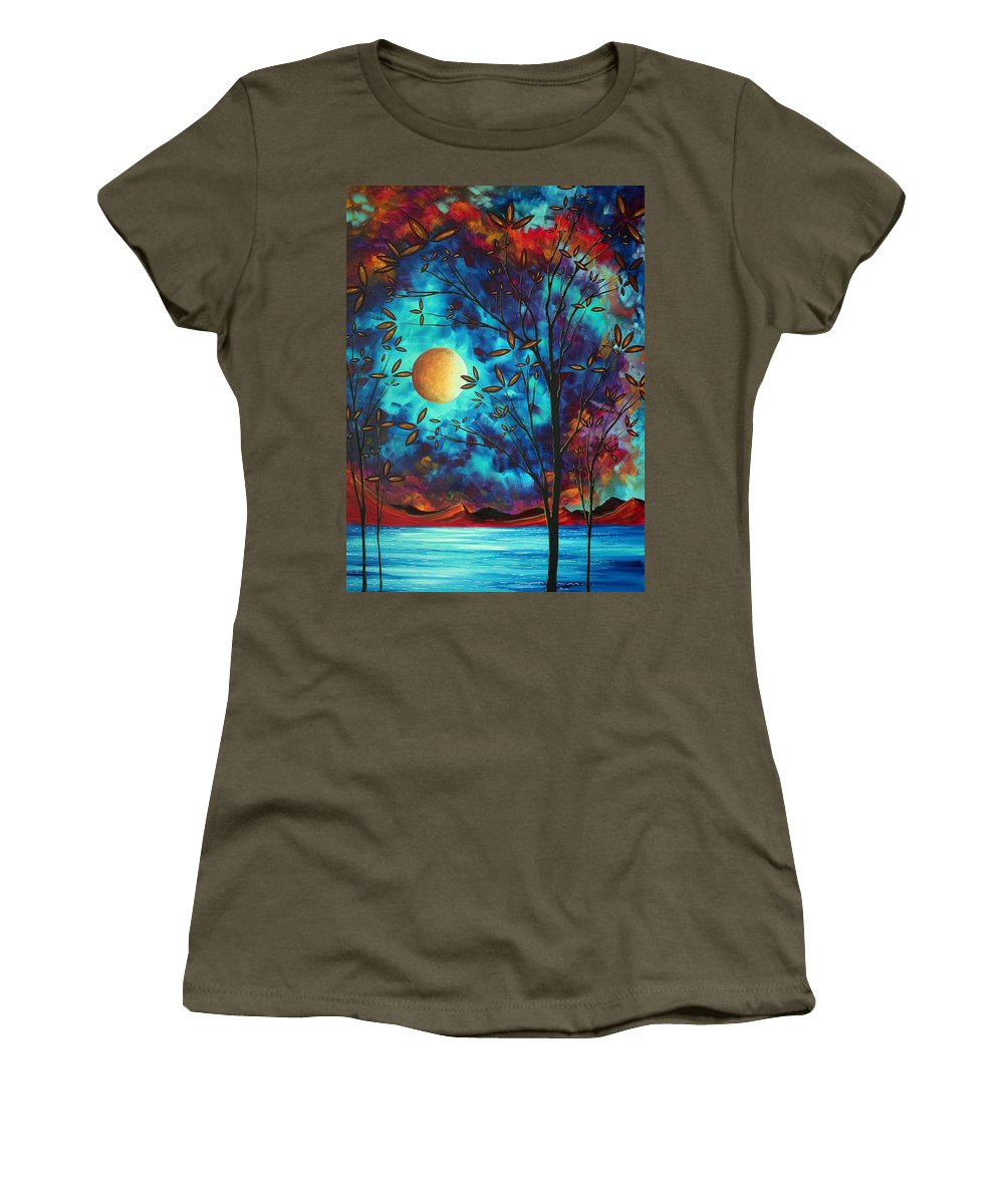 Abstract Women's T-Shirt featuring the painting Abstract Art Landscape Tree Blossoms Sea Moon Painting Visionary Delight By Madart by Megan Duncanson