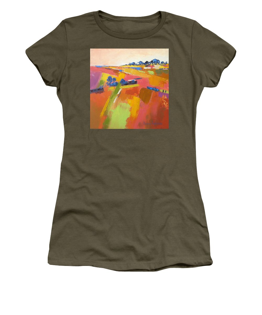 Fields Women's T-Shirt featuring the painting Abstract Landscape by Yvonne Ankerman