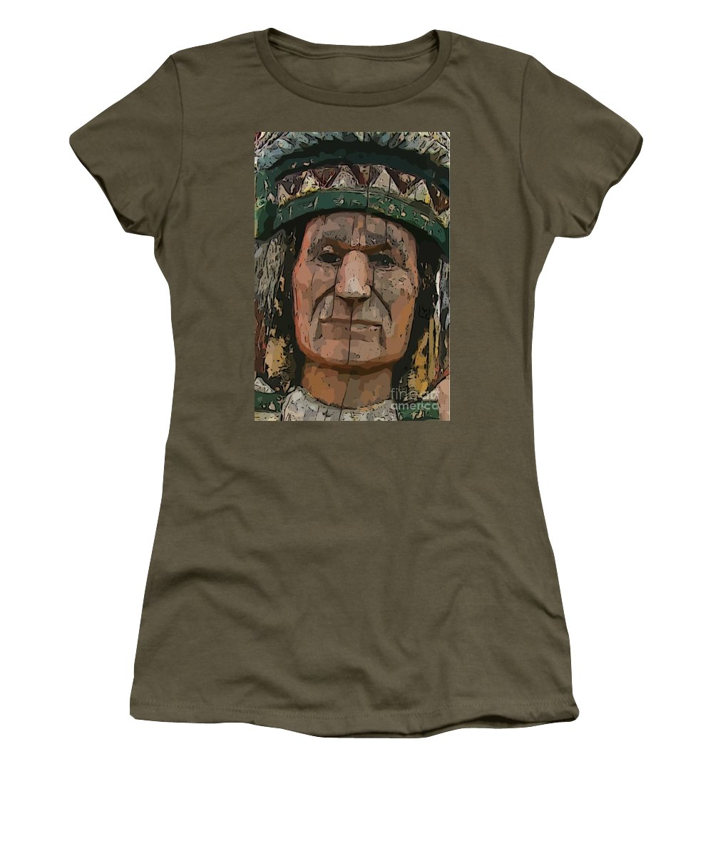 Abstract Of Wooden Indian Head Women's T-Shirt featuring the photograph Abstract Of Wooden Indian Head by John Malone