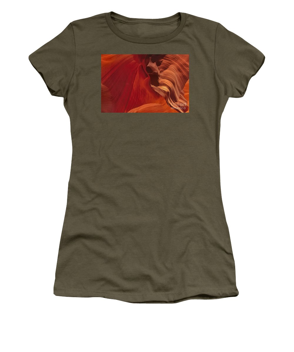 Dave Welling Women's T-Shirt featuring the photograph Abstract Red Sandstone Formations Lower Antelope Slot by Dave Welling