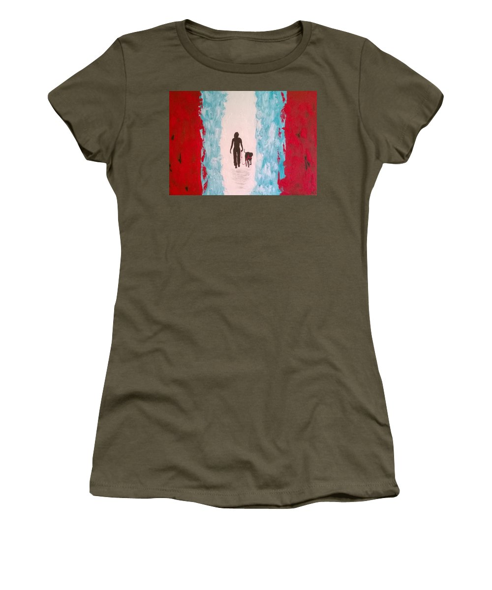 Acrylic On Canvas Women's T-Shirt (Athletic Fit) featuring the painting Abstract Walk by Aat Kuijpers