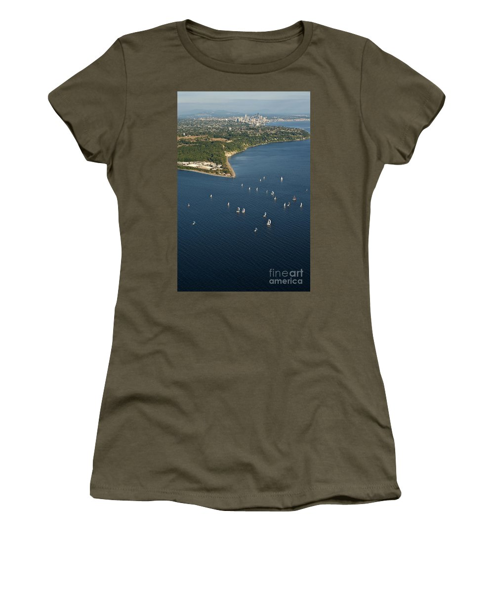 Discovery Park Women's T-Shirt featuring the photograph Aerial View Of Seattle Skyline With Sailboat Race On Puget Sound by Jim Corwin