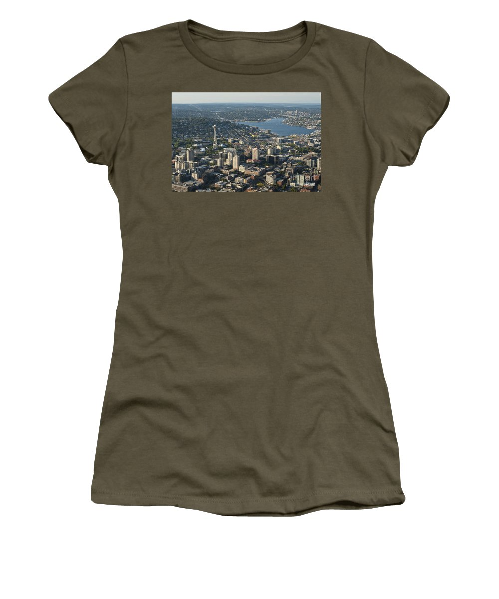 Bell Town Women's T-Shirt featuring the photograph Aerial View Of Space Needle And Lake Union by Jim Corwin