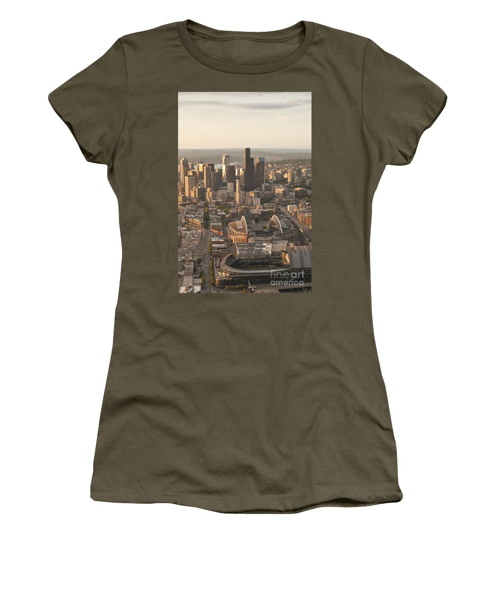 Centurylink Field Women's T-Shirt featuring the photograph Aerial View Of The Seattle Skyline With Stadiums by Jim Corwin