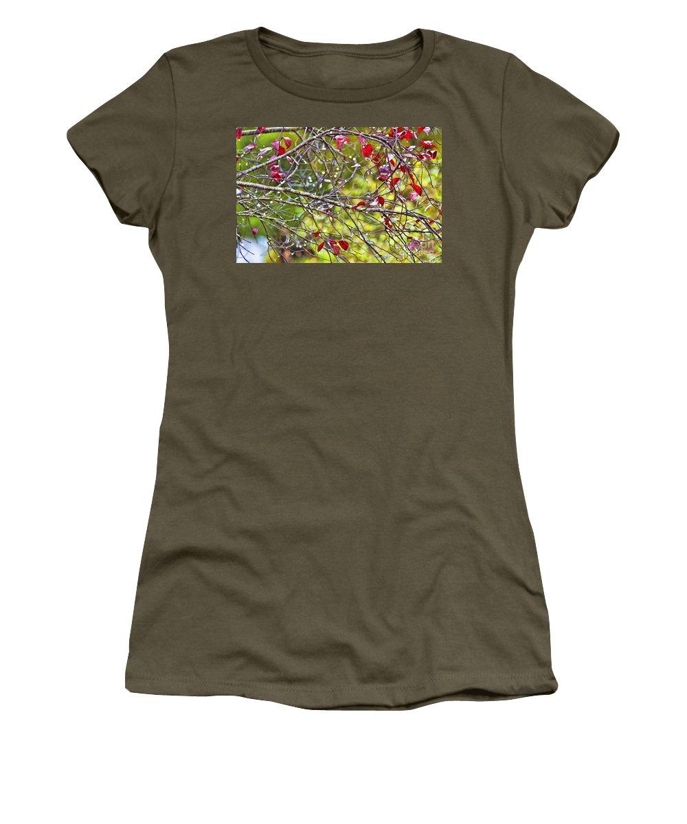 Autumn Women's T-Shirt featuring the photograph After The Autumn Rain 2 - Digital Paint by Debbie Portwood
