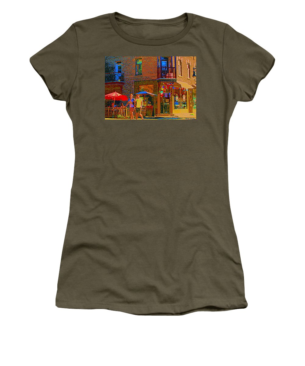 Montreal Women's T-Shirt featuring the painting Afternoon Stroll French Bistro Sidewalk Cafe Colors Of Montreal Flags And Umbrellas City Scene Art by Carole Spandau