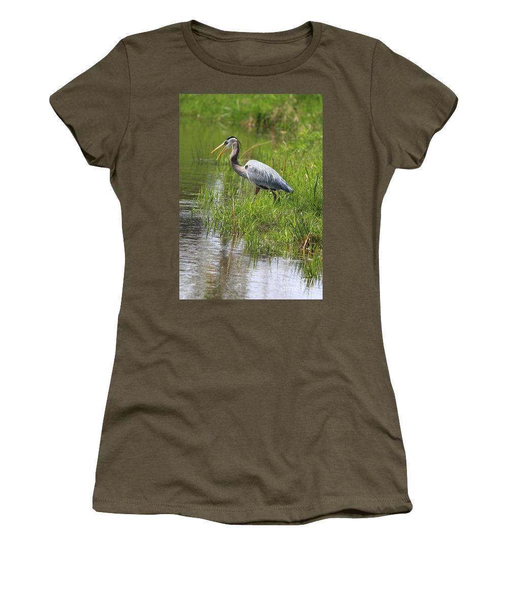 Bird Women's T-Shirt (Athletic Fit) featuring the photograph Ah That Tastes Good by Deborah Benoit