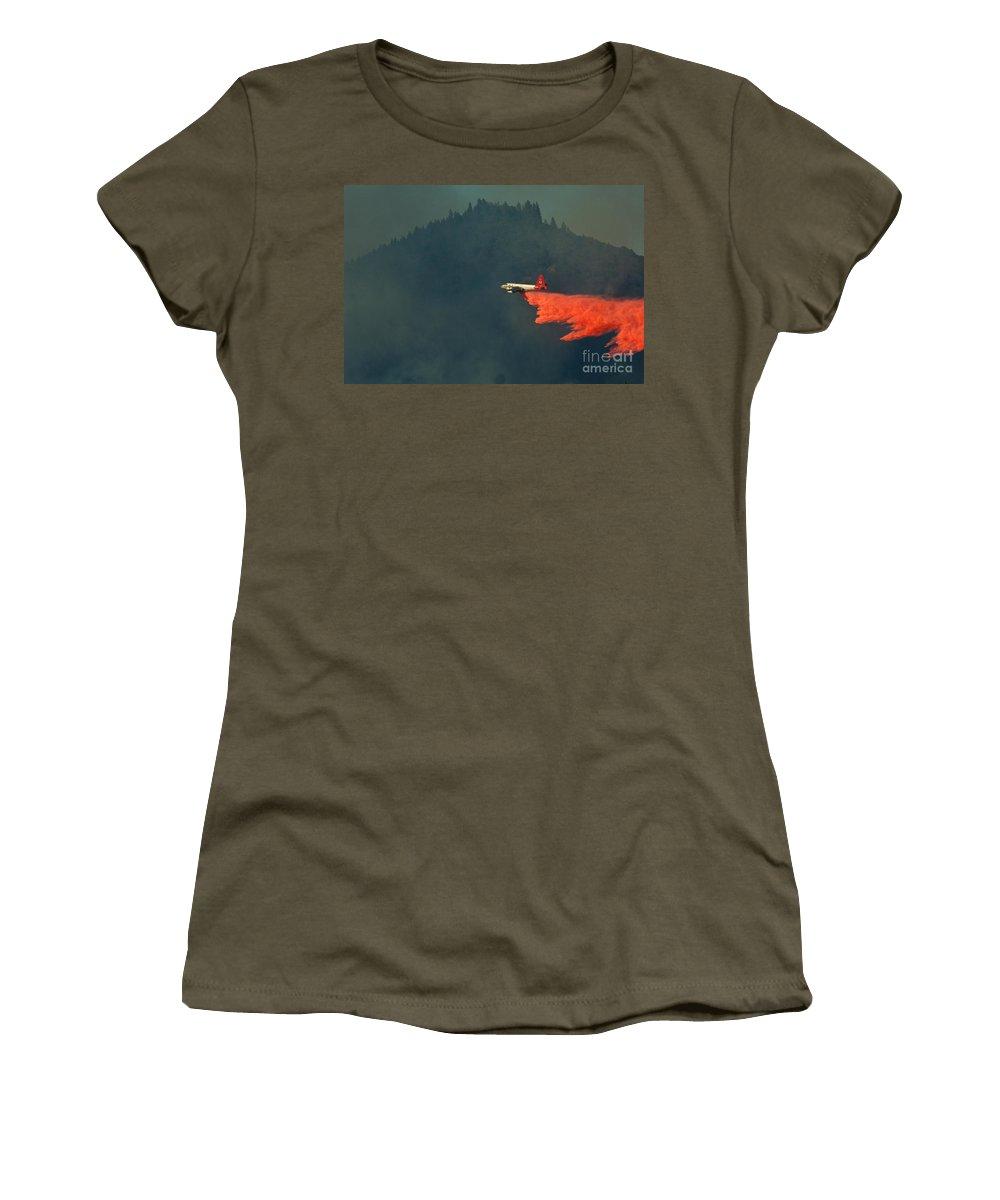 Fire Women's T-Shirt featuring the photograph Aircraft Releasing Fire Retardant by Ron Sanford