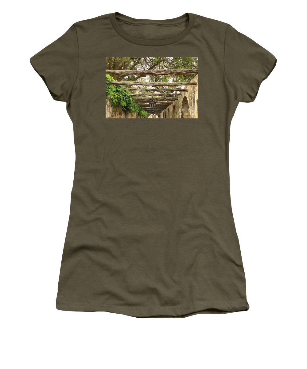 Alamo Walkway Women's T-Shirt (Athletic Fit) featuring the photograph Alamo Walkway by Carol Groenen