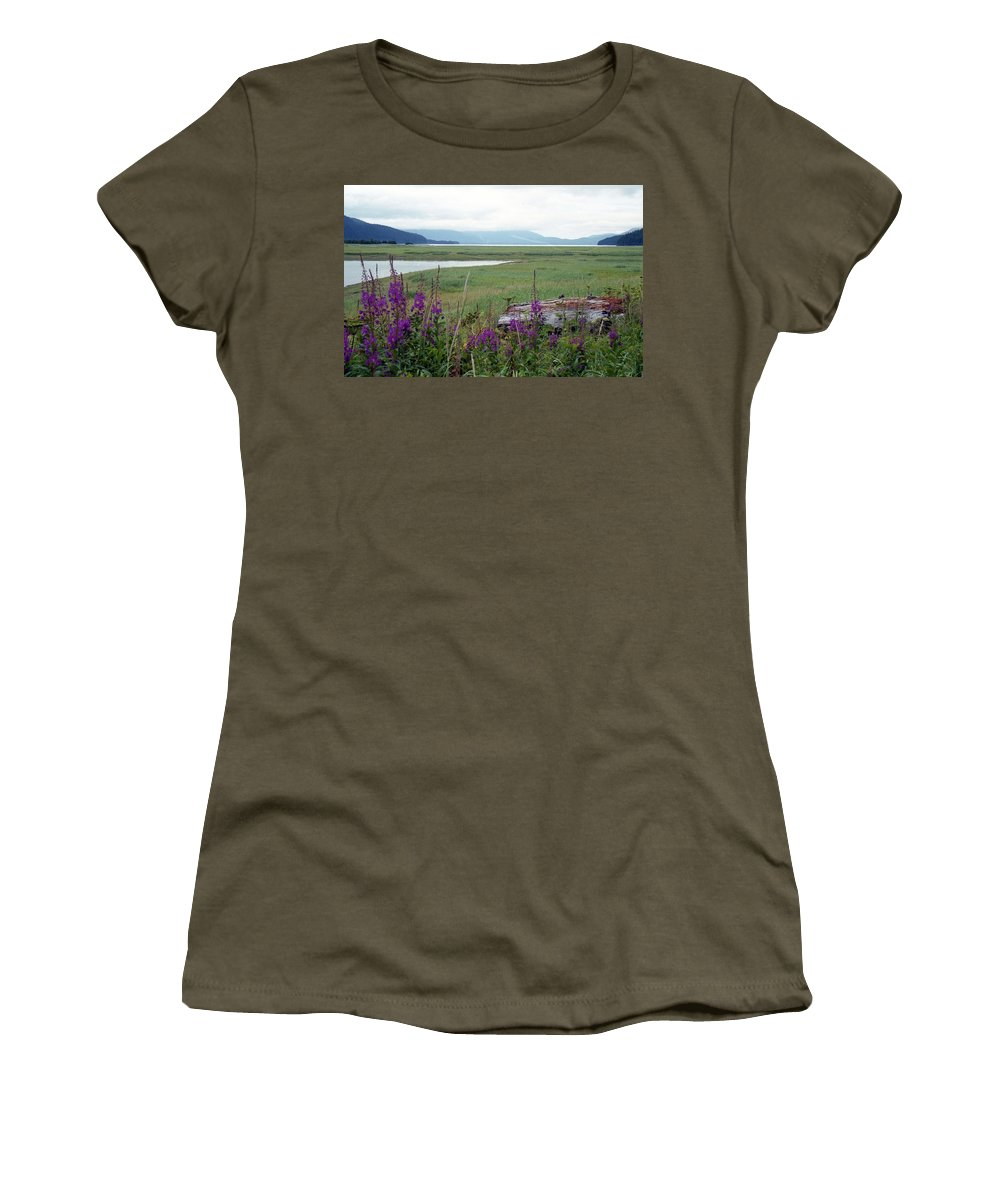 Alaska Women's T-Shirt (Athletic Fit) featuring the photograph Alaska - Juneau Wetlands by Pamela Critchlow