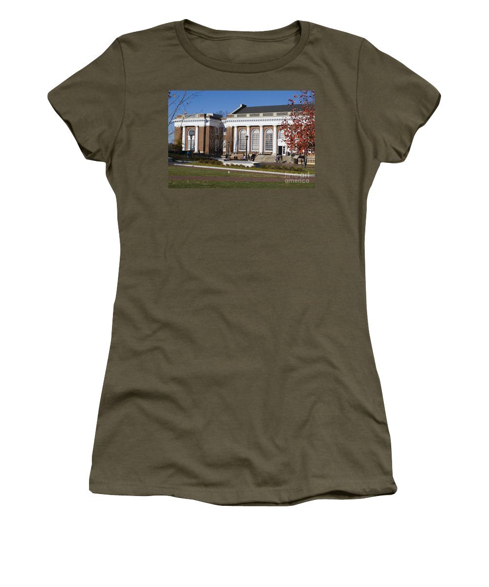 Alderman Library Women's T-Shirt featuring the photograph Alderman Library University Of Virginia by Jason O Watson