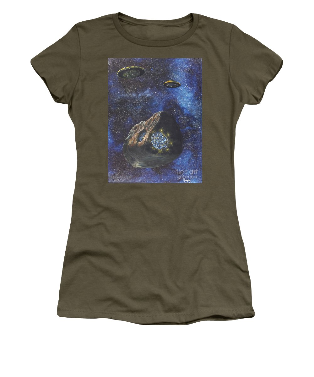 Painting Women's T-Shirt (Athletic Fit) featuring the painting Alien Space Factory by Murphy Elliott