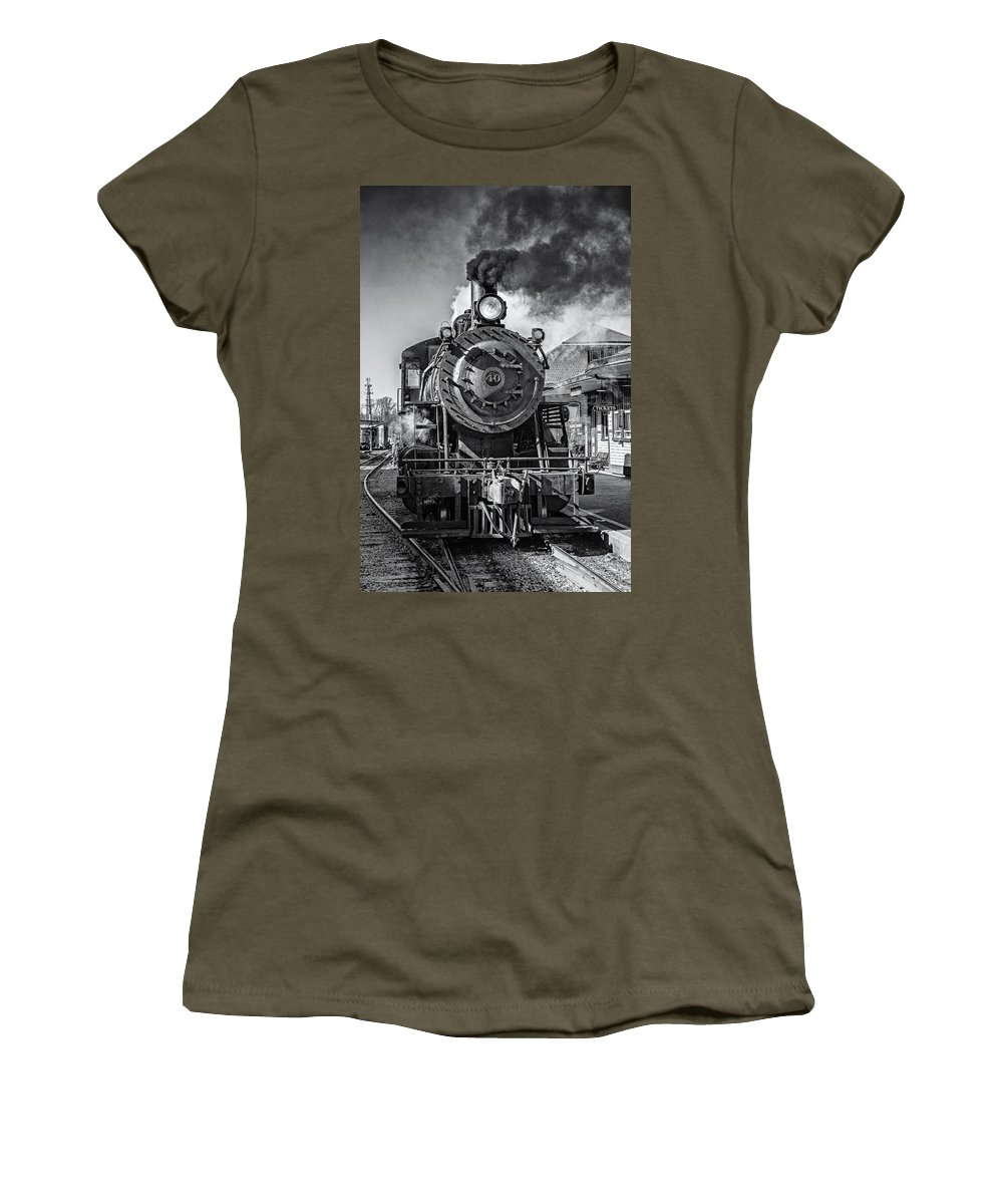 Steam Train Women's T-Shirt (Athletic Fit) featuring the photograph All Aboard Bw by Susan Candelario