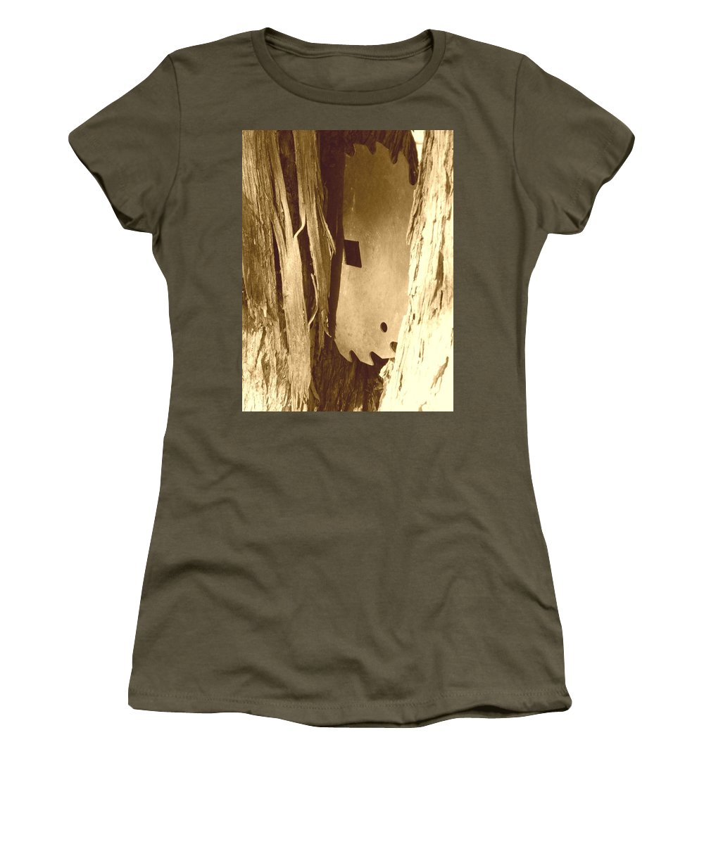 Country Women's T-Shirt featuring the photograph All Caught Up Sepia by Desiree Holloway