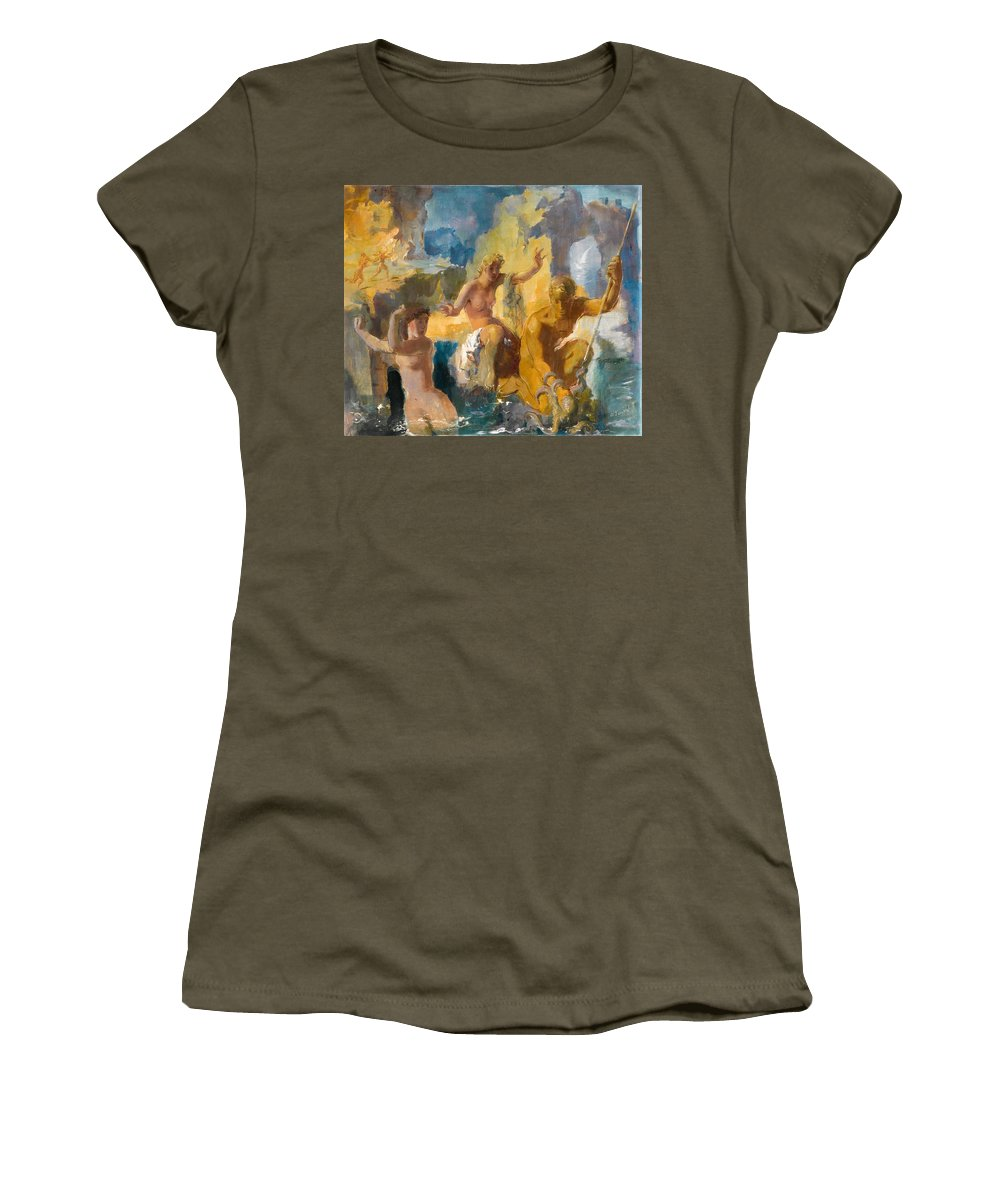 Alexander Evgenievich Yakovlev Women's T-Shirt featuring the painting Allegory by Alexander Evgenievich Yakovlev