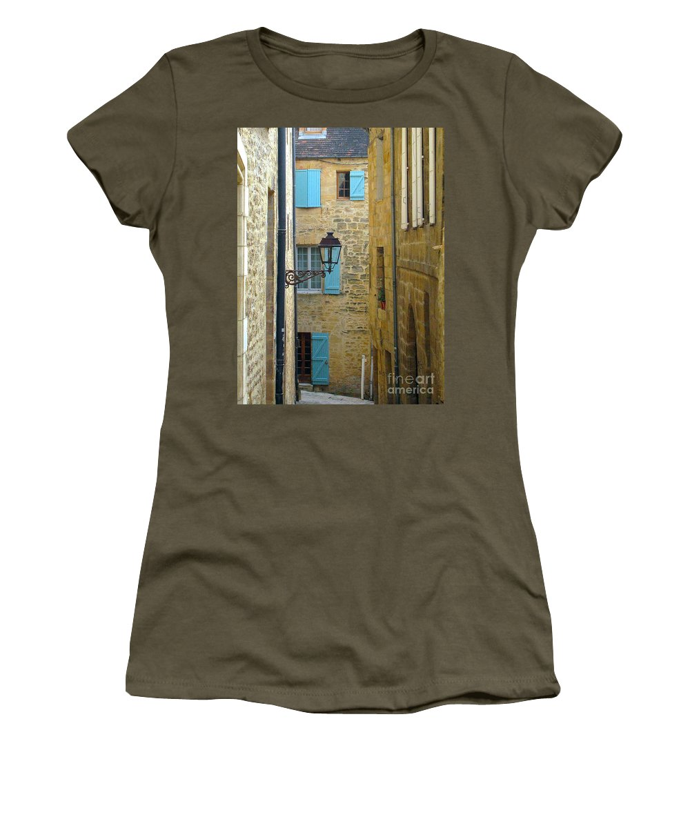France Sarlat Dordogne Windows Women's T-Shirt featuring the photograph Alleys Of Sarlat II by Suzanne Oesterling