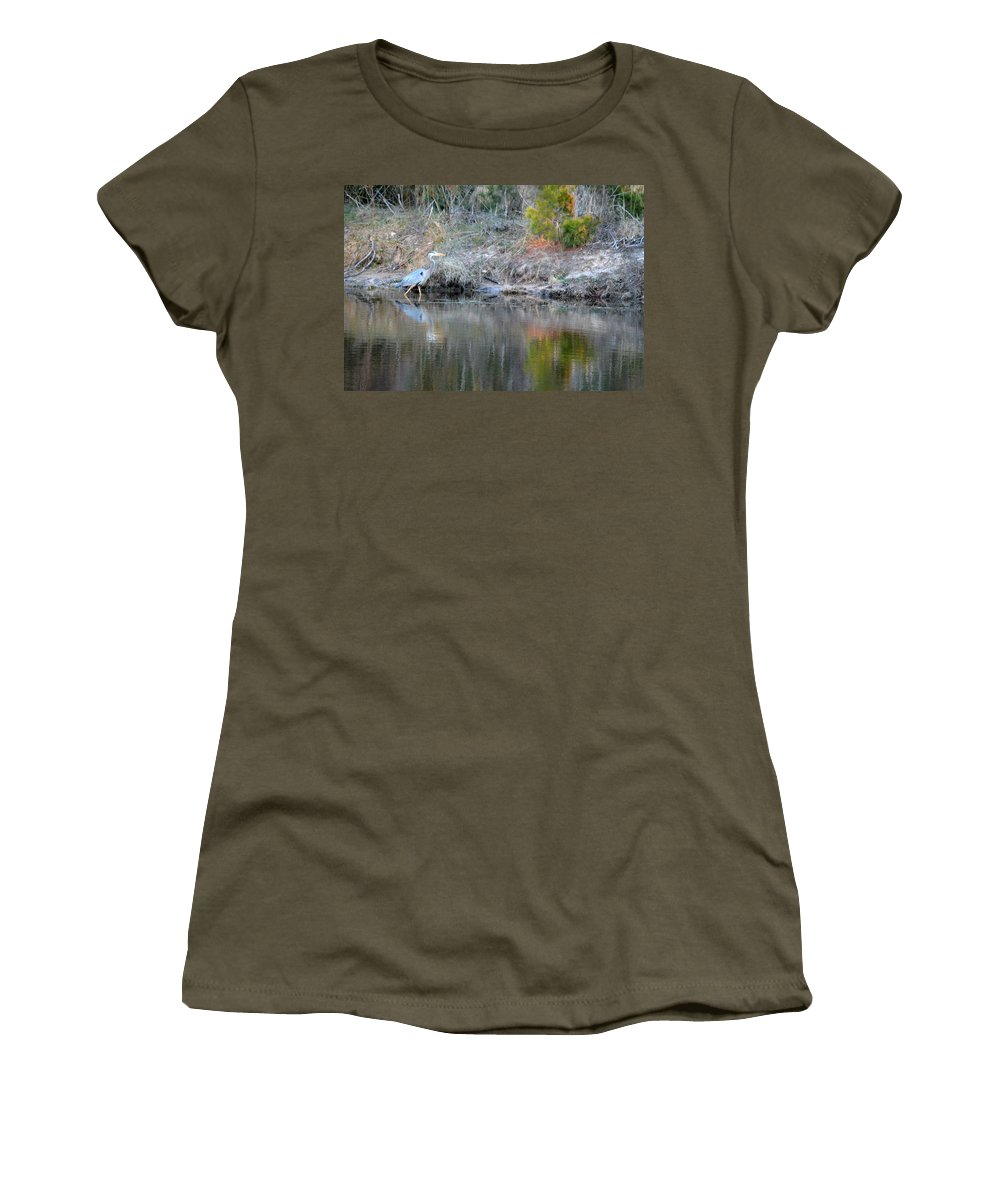 Blue Heron Women's T-Shirt featuring the photograph Along The Shore by Linda Kerkau