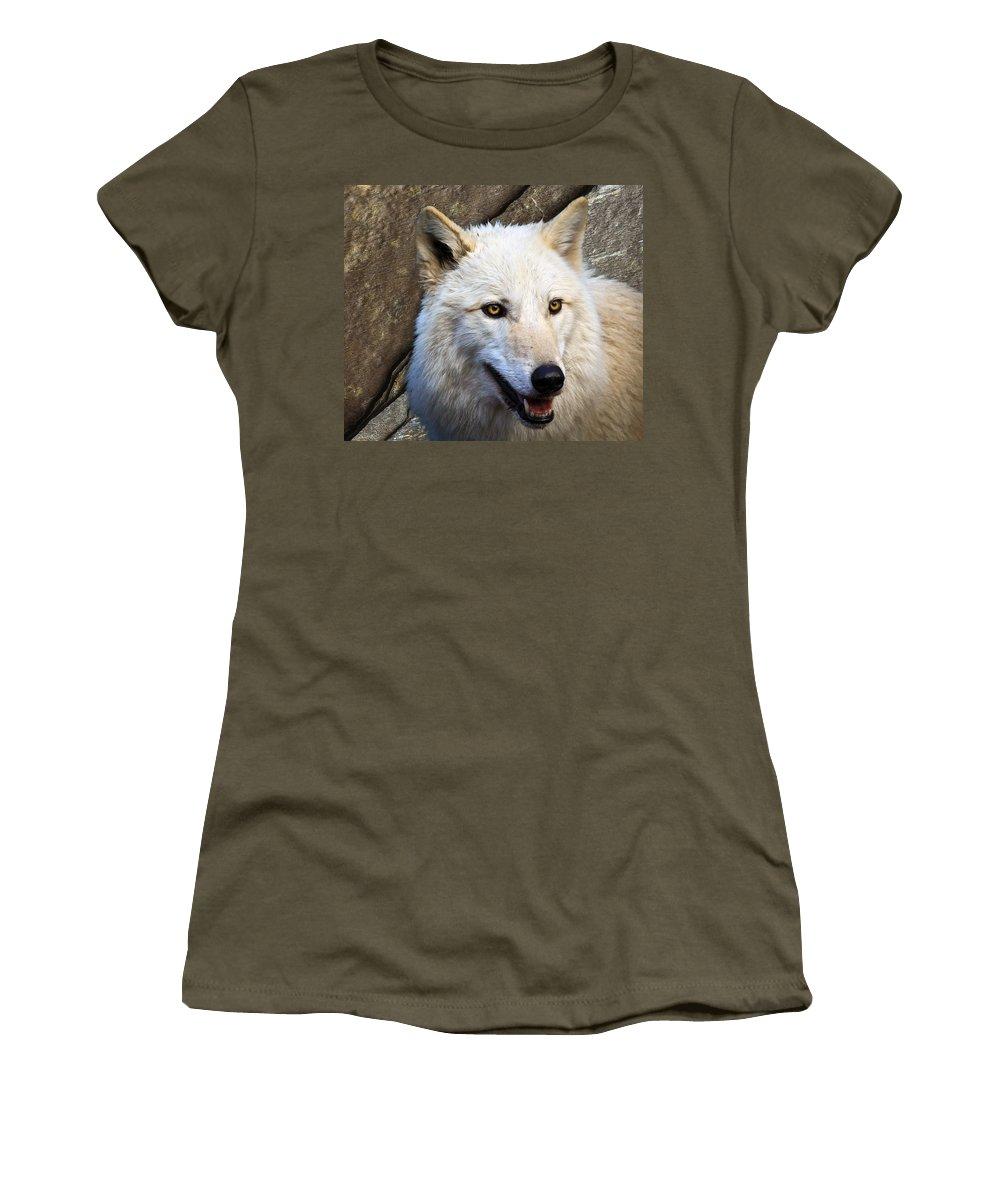 Wolf Art Women's T-Shirt featuring the photograph Along The Wall by Steve McKinzie