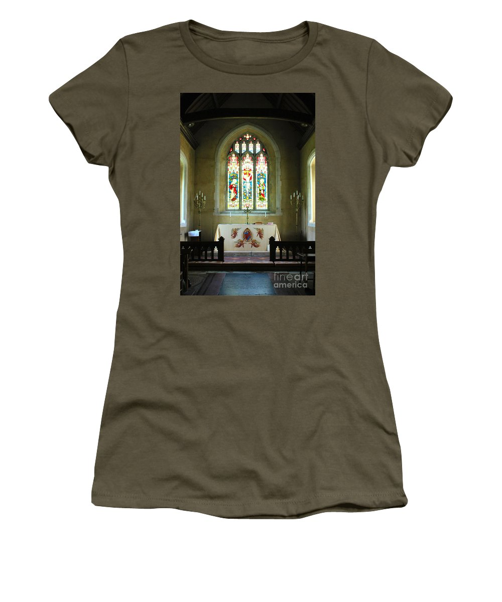 St Andrews Nether Wallop Women's T-Shirt (Athletic Fit) featuring the photograph Altar And Stained Glass Window Nether Wallop by Terri Waters