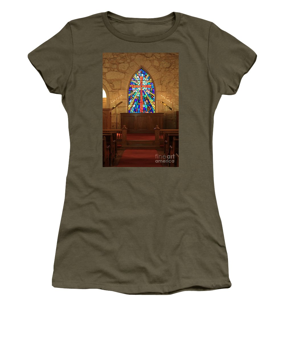 The Little Church Women's T-Shirt (Athletic Fit) featuring the photograph Altar At The Little Church In La Villita by Carol Groenen