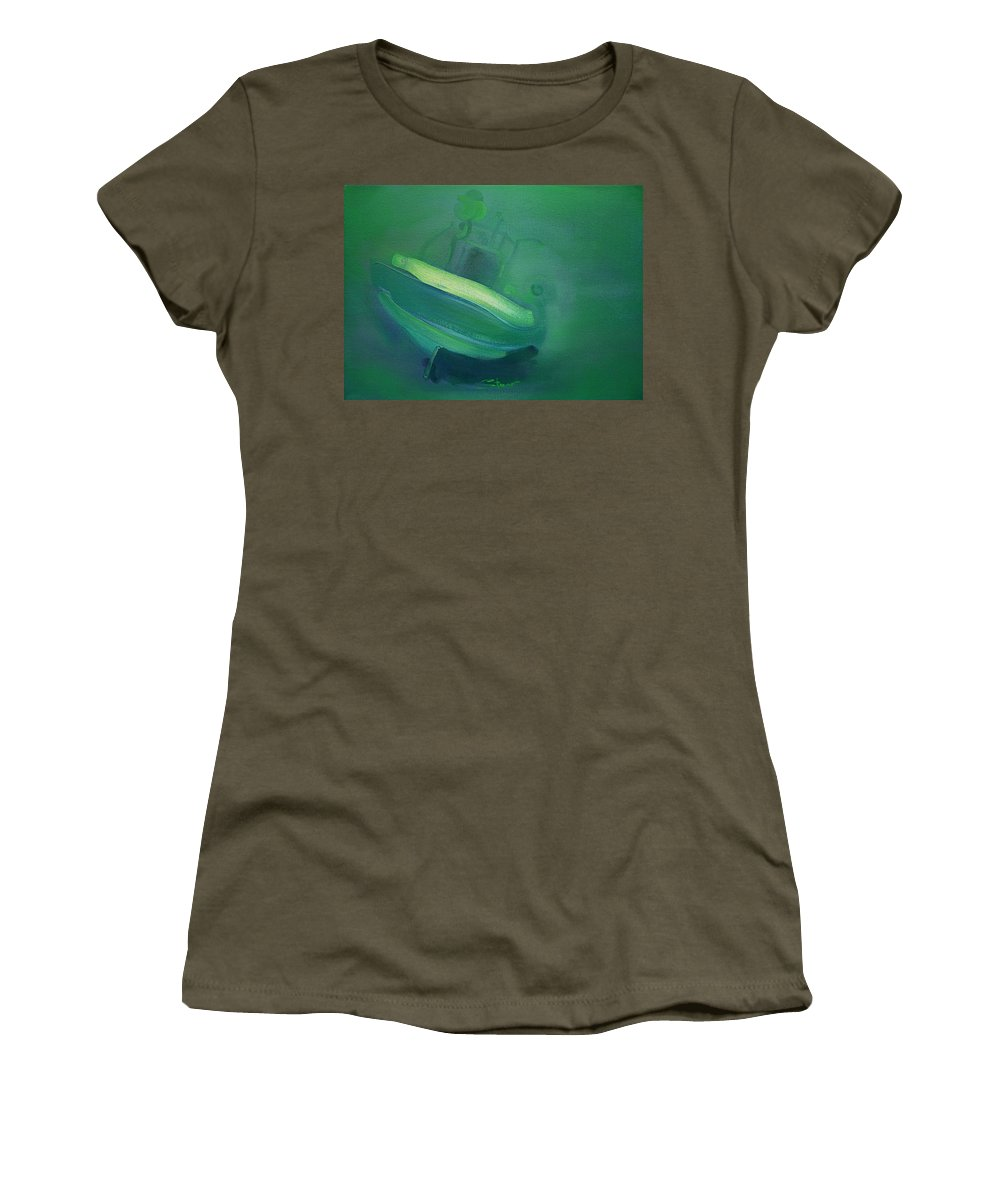 Fishing Boat Women's T-Shirt (Athletic Fit) featuring the painting Alvor Working Boat by Charles Stuart